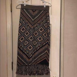 Vintage Free People fringed pencil skirt